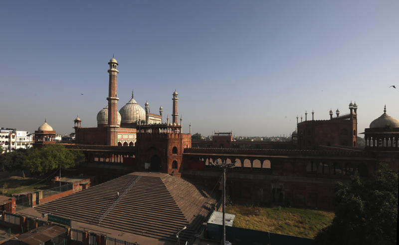 The Jama Mosque is seen during Eid al-Fitr at the old quarters of New Delhi, India, Monday, May 25, 2020. The holiday of Eid al-Fitr, the end of the fasting month of Ramadan, a usually joyous three-day celebration has been significantly toned down as coronavirus cases soar. (AP Photo/Manish Swarup)