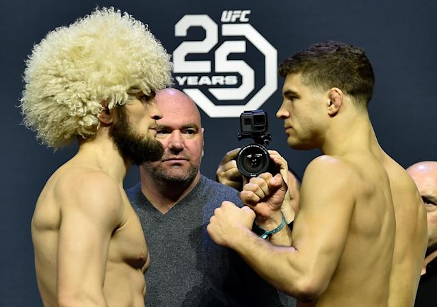 Khabib Nurmagomedov (L) and Al Iaquinta face off during the UFC 223 weigh-in inside Barclays Center on April 6, 2018 in Brooklyn, New York. (Getty Images)