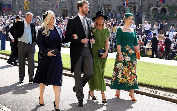 Eliza Spencer, Louis Spencer, Victoria Aitken and Kitty Spencer arrive at St George's Chapel at Windsor Castle for the wedding of Meghan Markle and Prince Harry - Chris Radburn/PA Wire