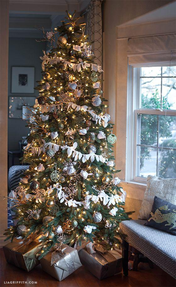 "<p>Wrap your presents in silver and gold paper to match gold and silver accents in your tree decor. The sheen below the tree will help it stand out even more. </p><p>See more at <a href=""https://liagriffith.com/my-christmas-tree-reveal/"" rel=""nofollow noopener"" target=""_blank"" data-ylk=""slk:Lia Griffith"" class=""link rapid-noclick-resp"">Lia Griffith</a>. </p><p><a class=""link rapid-noclick-resp"" href=""https://www.amazon.com/JAM-PAPER-Gift-Wrap-Individually/dp/B01DAHHH6O?tag=syn-yahoo-20&ascsubtag=%5Bartid%7C10057.g.505%5Bsrc%7Cyahoo-us"" rel=""nofollow noopener"" target=""_blank"" data-ylk=""slk:SHOP WRAPPING PAPER"">SHOP WRAPPING PAPER</a> <em><strong>Silver Wrapping Paper, $10</strong></em></p>"