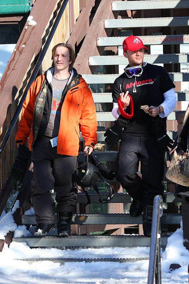 "Ryan meets up with his buddy Breckin Meyer (""Clueless,"" ""Road Trip"") before hitting the slopes. Ginsberg-Spaly/<a href=""http://www.x17online.com"" target=""new"">X17 Online</a> - January 30, 2008"