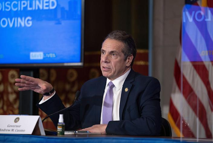 Gov. Andrew Cuomo spoke at a COVID briefing at the state Capitol on Jan. 27, 2021.