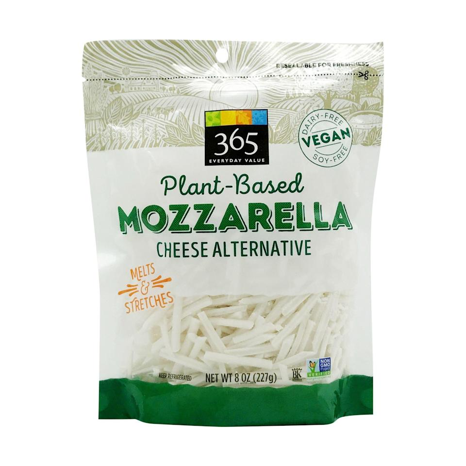 """<p><strong>365 Everyday Value</strong></p><p>wholefoodsmarket.com</p><p><a href=""""https://products.wholefoodsmarket.com/product/365-everyday-value-non-dairy-mozzarella-cheese-shreds-e365f4"""" rel=""""nofollow noopener"""" target=""""_blank"""" data-ylk=""""slk:Shop Now"""" class=""""link rapid-noclick-resp"""">Shop Now</a></p><p>Vegan shredded cheese has a bad rep for tasting plasticky. Of the 20-plus options WH sampled, though, these plant-based shreds melted the most like the real thing. </p><p>They have a coconut-meets-mozzarella flavor that makes them mild and versatile, just like the OG mozz.</p>"""