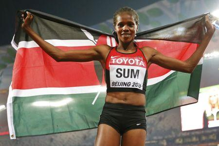 Sum of Kenya reacts after after placing third in the women's 800m event during the 15th IAAF World Championships at the National Stadium in Beijing