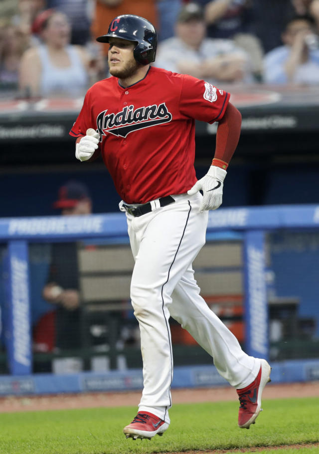 Cleveland Indians' Roberto Perez runs the bases after hitting a solo home run in the fifth inning in a baseball game against the Kansas City Royals, Tuesday, June 25, 2019, in Cleveland. (AP Photo/Tony Dejak)
