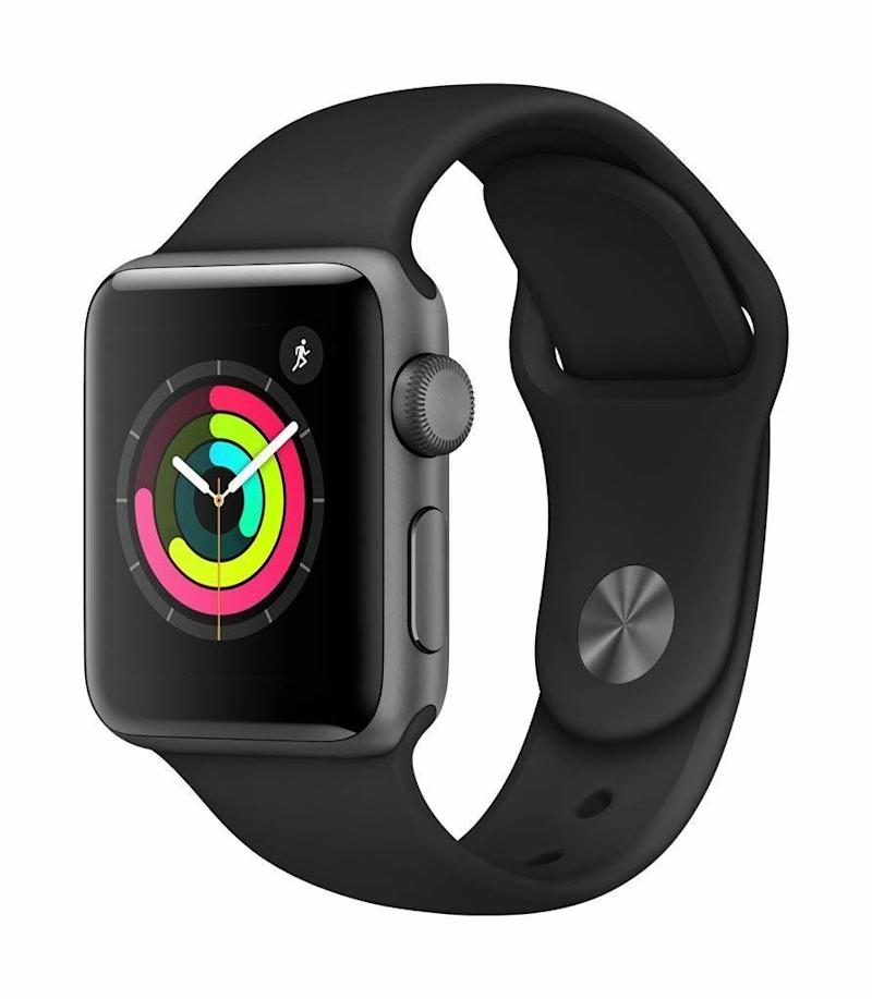 Apple Watch Series 3 (GPS, 38mm), Space Gray Aluminium Case with Black Sport Band. (Photo: Amazon)
