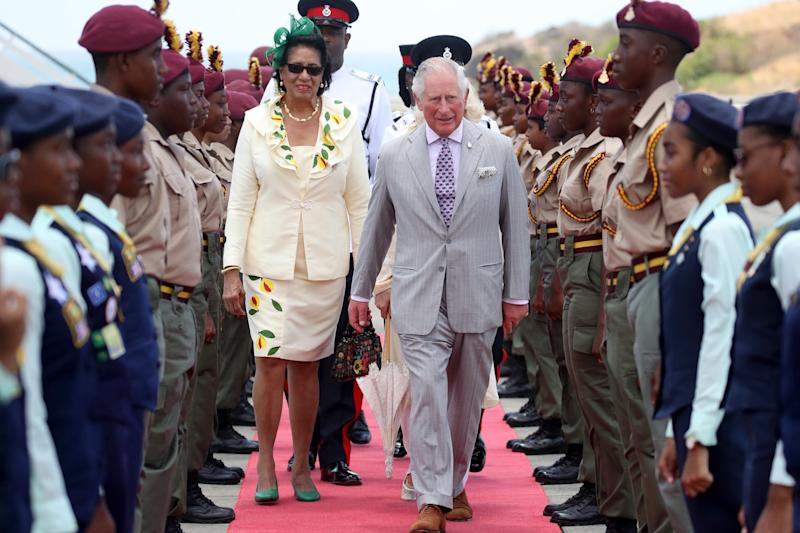 Grenada Governor-General Cecile La Grenade welcomed Charles and Camilla to the country (Getty Images,)