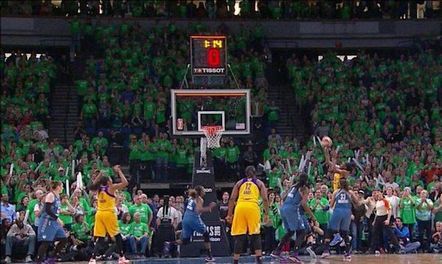 A screenshot of Nneka Ogwumike's jump shot appears to show the ball still in her hands as the shot clock expires.