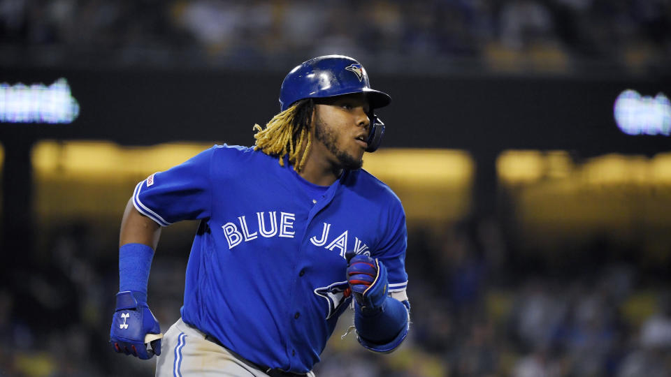 Vladimir Guerrero Jr. is in the process of moving from top prospect to star. (AP Photo/Mark J. Terrill)