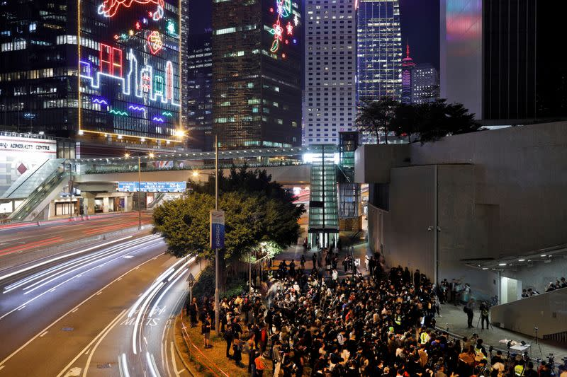 Protestors attend a rally to mark International Human Rights Day in Hong Kong