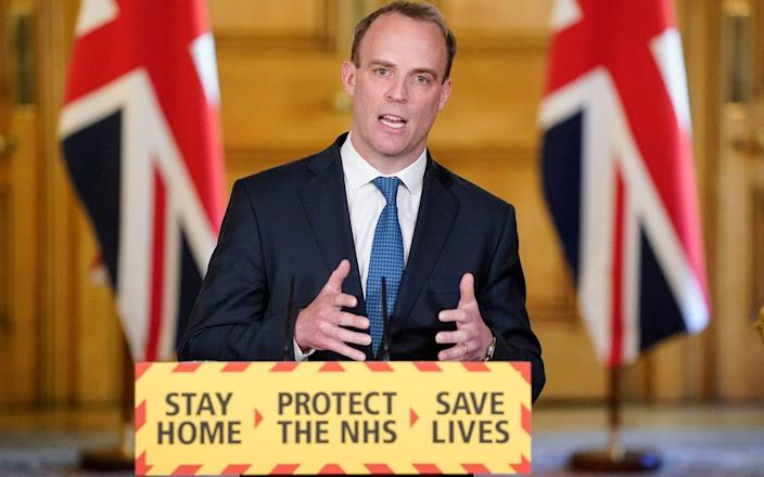 Dominic Raab had said stopping flights would end the repatriation of British tourists - Andrew Parsons/10 Downing Street/Crown Copyright/PA