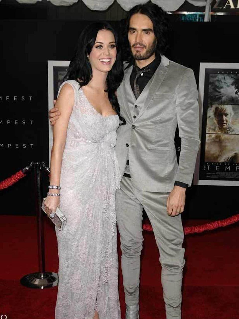 <p>Katy Perry, with then-husband Russell Brand, wears Elie Saab Couture.</p>