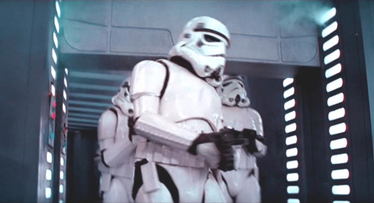 A fierce Stormtrooper bumping his head (figure on right), was obviously not written into the script, but George Lucas knew this was a happy accident and not only left it in the movie, but added an audible clunk.