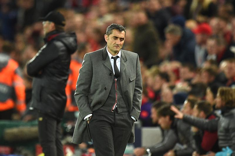 TOPSHOT - Barcelona's Spanish coach Ernesto Valverde reacts during the UEFA Champions league semi-final second leg football match between Liverpool and Barcelona at Anfield in Liverpool, north west England on May 7, 2019. (Photo by Oli SCARFF / AFP) (Photo credit should read OLI SCARFF/AFP/Getty Images)