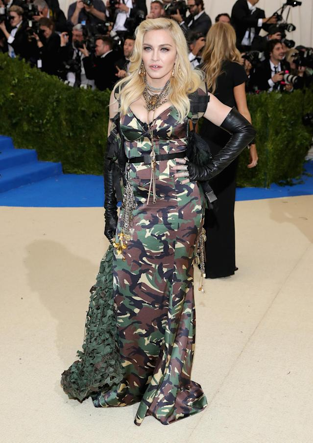 Madonna's camouflage gown at the Met Gala. (Photo: Getty Images)