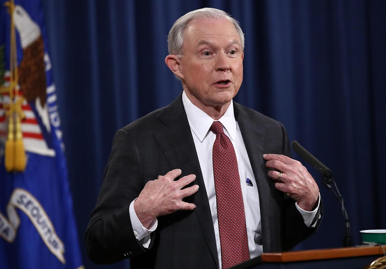 U.S. Attorney General Jeff Sessions responds at a press conference at the Department of Justice on March 2, 2017, in Washington, D.C. (Photo: Win McNamee/Getty Images)