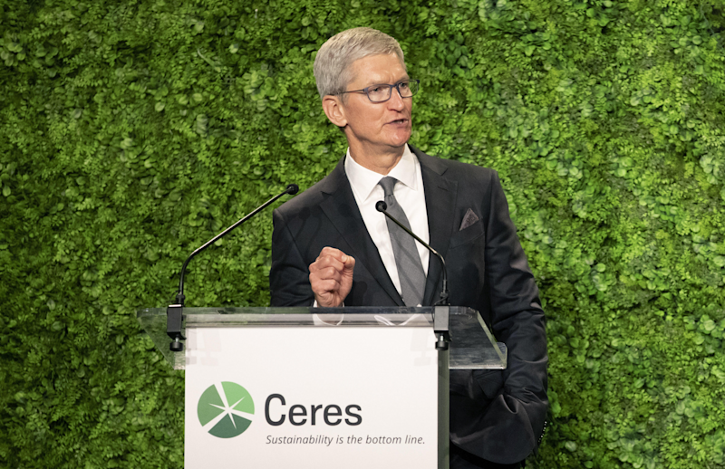 Apple's Tim Cook accepting an award for sustainability from the nonprofit Ceres.