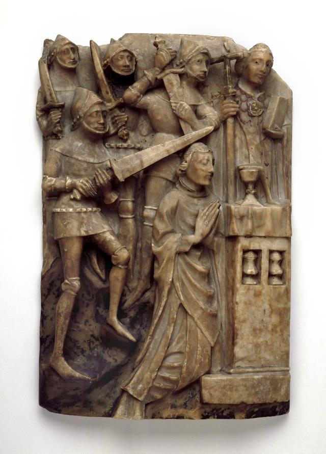 An alabaster sculpture of Thomas Becket kneeling at an altar surrounded by knights (The Trustees of the British Museum/PA)