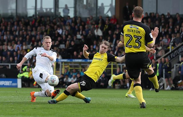 "Soccer Football - Championship - Burton Albion vs Derby County - Pirelli Stadium, Burton-on-Trent, Britain - April 14, 2018 Derby County's Matej Vydra in action with Burton Albion's Jacob Davenport Action Images/John Clifton EDITORIAL USE ONLY. No use with unauthorized audio, video, data, fixture lists, club/league logos or ""live"" services. Online in-match use limited to 75 images, no video emulation. No use in betting, games or single club/league/player publications. Please contact your account representative for further details."
