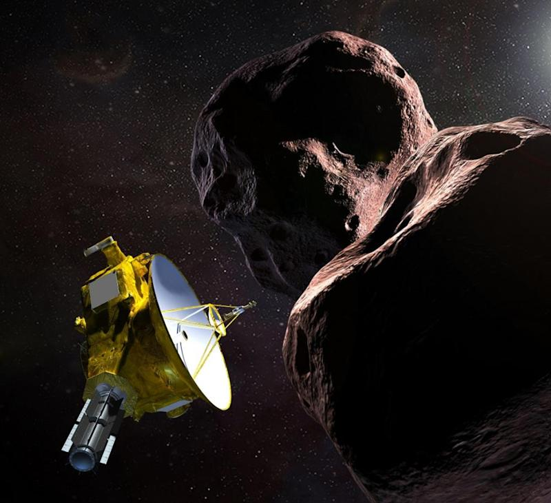 A Nasa illustration of its New Horizons spacecraft encountering an object in the Kuiper Belt.
