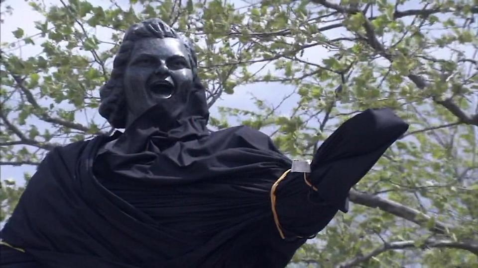 """The Philadelphia Flyers first covered up the statue of Kate Smith outside the Wells Fargo Center and then ultimately removed it, as well as pledged to stop using her recording of """"God Bless America"""" as an allegation of racism against the singer has come to light."""