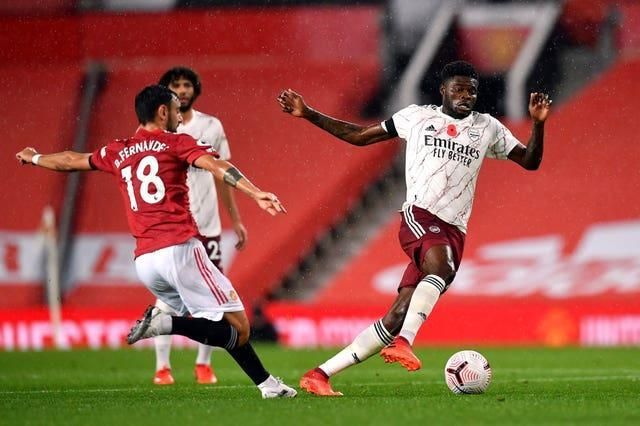 Thomas Partey (right) has impressed when he has been able to play for Arsenal.