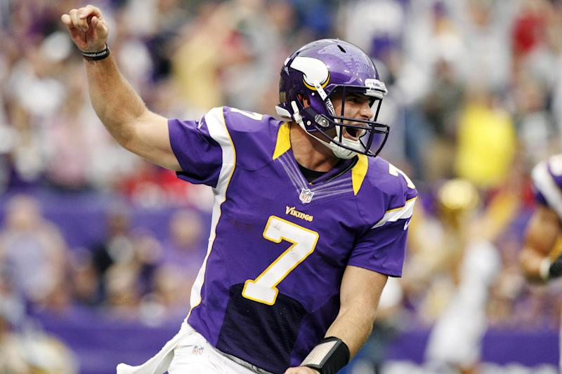 Minnesota Vikings quarterback Christian Ponder (7) celebrates his touchdown run in the first half of an NFL football game against the San Francisco 49ers, Sunday, Sept. 23, 2012, in Minneapolis. (AP Photo/Genevieve Ross)
