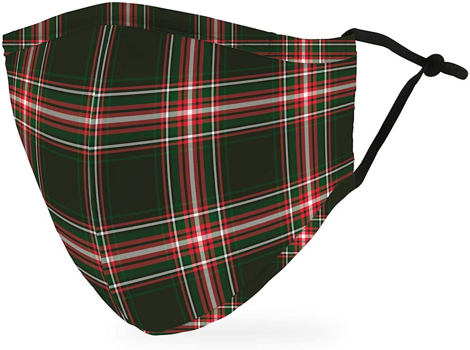 Weddingstar Holiday Face Mask in Green and Red Plaid.