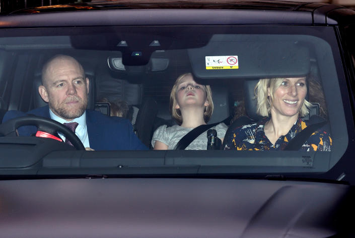 LONDON, ENGLAND - DECEMBER 18: Mike Tindall, Zara Tindall and daughter Mia Grace Tindall attend Christmas Lunch at Buckingham Palace on December 18, 2019 in London, England. (Photo by Karwai Tang/WireImage)