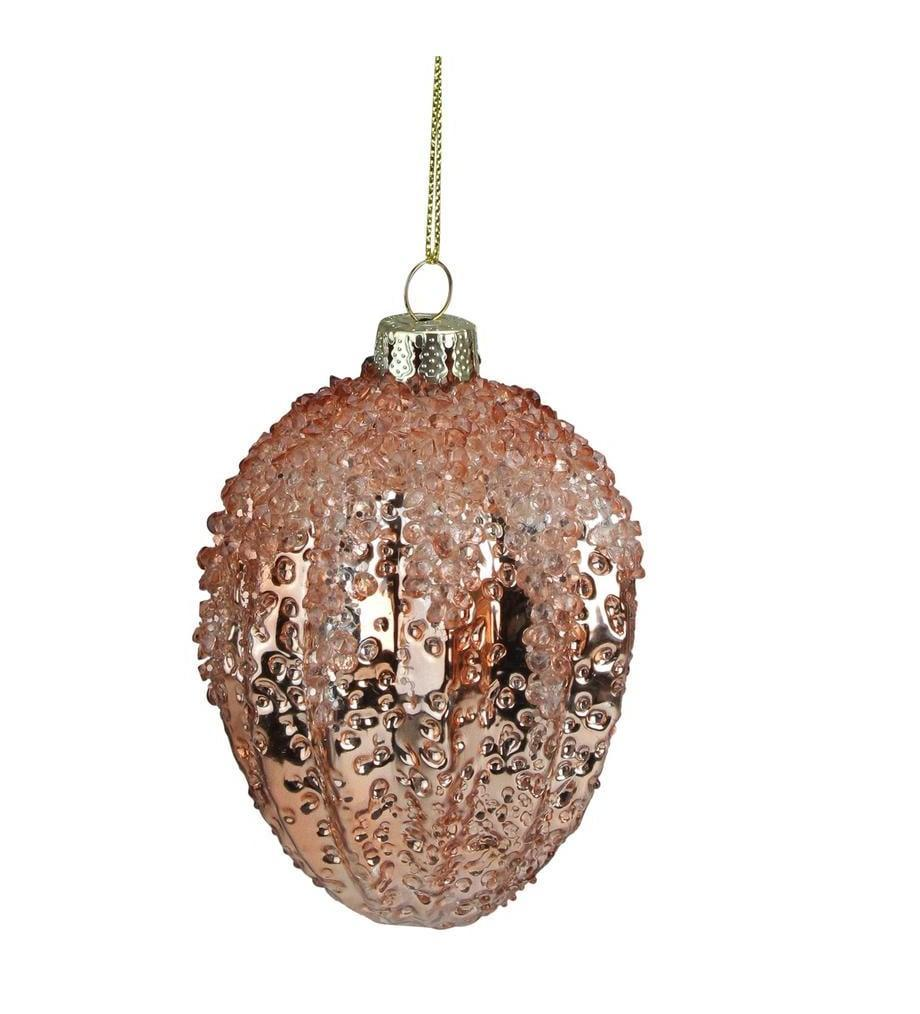 <p>If you're a fan of traditional ornaments, you'll love this understated <span>4 in. Pink Pine Cone Hanging Glass Christmas Ornament</span> ($11). </p>