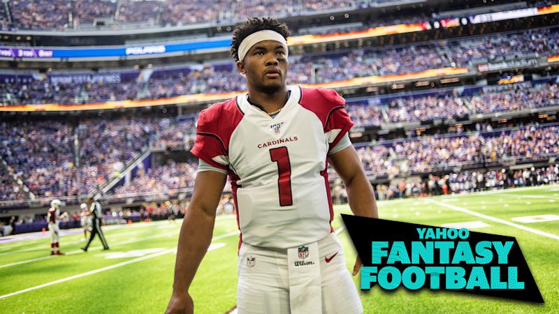 Liz Loza and Matt Harmon are joined by Christopher Harris to discuss a number of players who may be either over or undervalued at the current moment, including Arizona QB Kyler Murray. (Photo by Stephen Maturen/Getty Images)