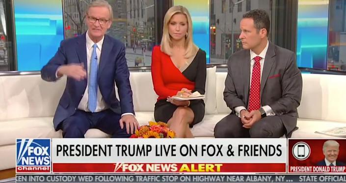 """Fox & Friends"" hosts (from left) Steve Doocy, Ainsley Earhardt and Brian Kilmeade spoke with President Donald Trump on Oct. 11 about Khashoggi and U.S.-Saudi relations. (Photo: )"