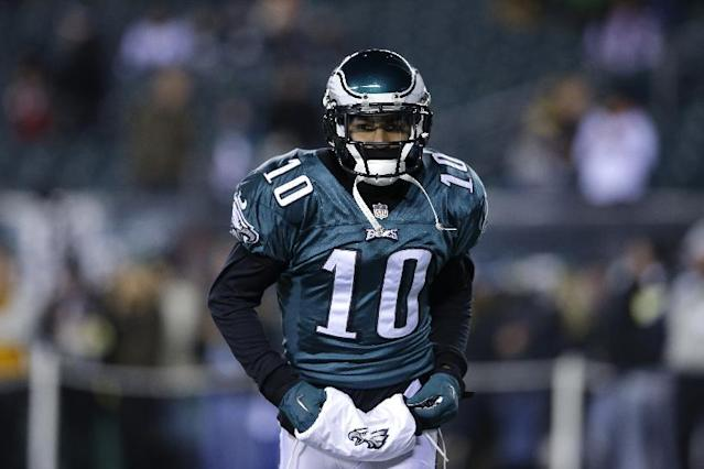 Philadelphia Eagles' DeSean Jackson is is seen during an NFL wild-card playoff football game against the New Orleans Saints, Saturday, Jan. 4, 2014, in Philadelphia. (AP Photo/Michael Perez)