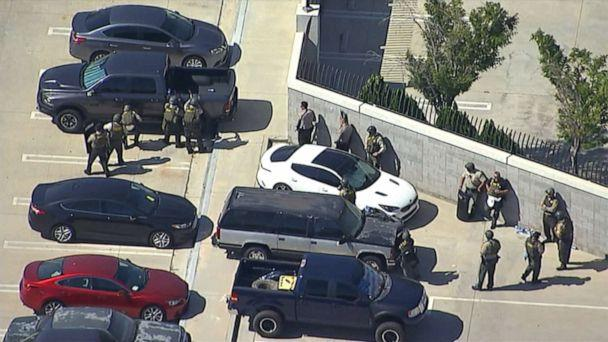 PHOTO: Police on the scene where a sheriff's deputy was shot heading to his car in a parking lot in Lancaster, Calif., Aug. 21, 2019. (KABC)