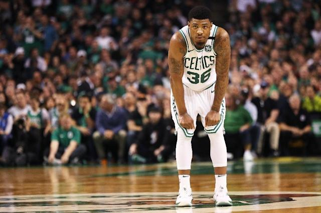 Marcus Smart of the Boston Celtics looks on during Game Seven of the 2018 NBA Eastern Conference Finals against the Cleveland Cavaliers at TD Garden on May 27, 2018 in Boston, Massachusetts (AFP Photo/Maddie Meyer)