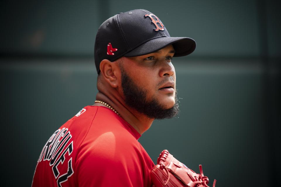 Eduardo Rodriguez was finally cleared to walk on a treadmill after dealing with complications from COVID-19. (Photo by Billie Weiss/Boston Red Sox/Getty Images)