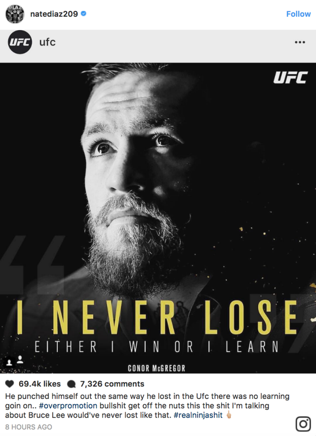 Diaz's angry post. Pic: Instagram