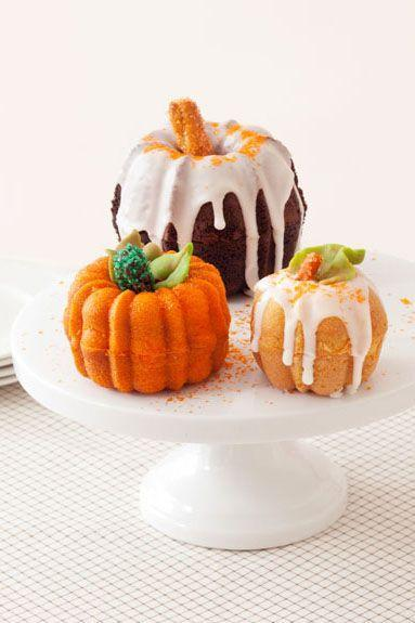 """<p>For more fall flavor, sub in apricot jam for glaze to sandwich the mini pumpkin cakes together. </p><p><a href=""""https://www.goodhousekeeping.com/food-recipes/a15461/pumpkin-patch-cakes-recipe-ghk1013/"""" rel=""""nofollow noopener"""" target=""""_blank"""" data-ylk=""""slk:Get the recipe for Pumpkin Patch Cakes »"""" class=""""link rapid-noclick-resp""""><em>Get the recipe for Pumpkin Patch Cakes »</em></a></p>"""