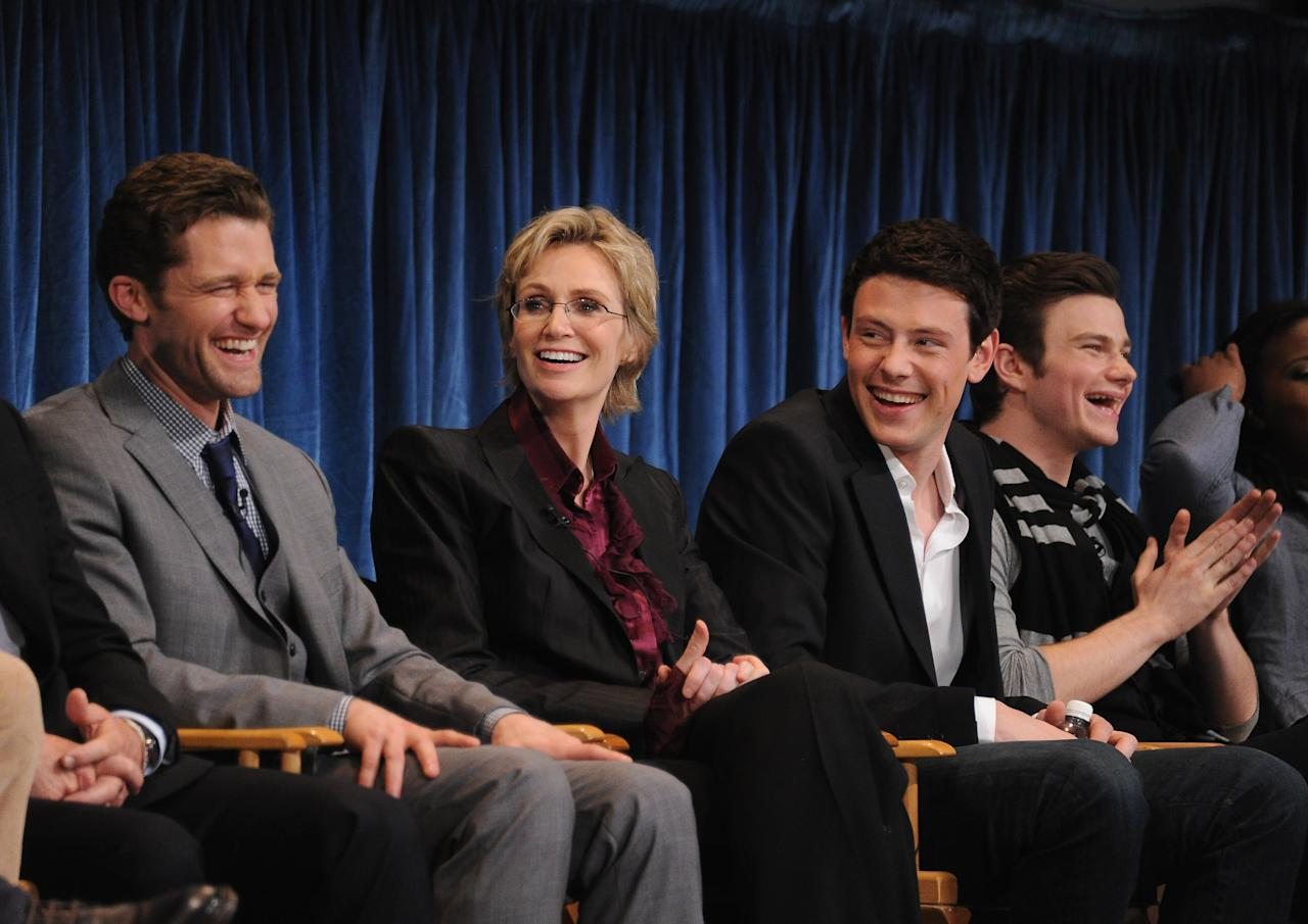 """BEVERLY HILLS, CA - MARCH 16:  (L-R) Actor Matthew Morrison, actress Jane Lynch and actor Cory Monteith attend the Paley Center for Media's Paleyfest 2011 Event honoring """"Glee"""" at the Saban Theatre on March 16, 2011 in Beverly Hills, California.  (Photo by Michael Buckner/Getty Images)"""
