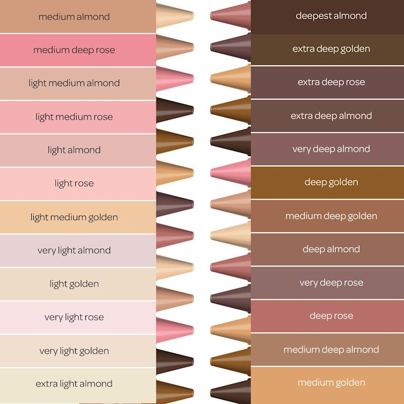 "The packs include side panels with the color names, such as ""light almond,"" ""deep rose"" and ""medium golden."" (Photo: Crayola)"