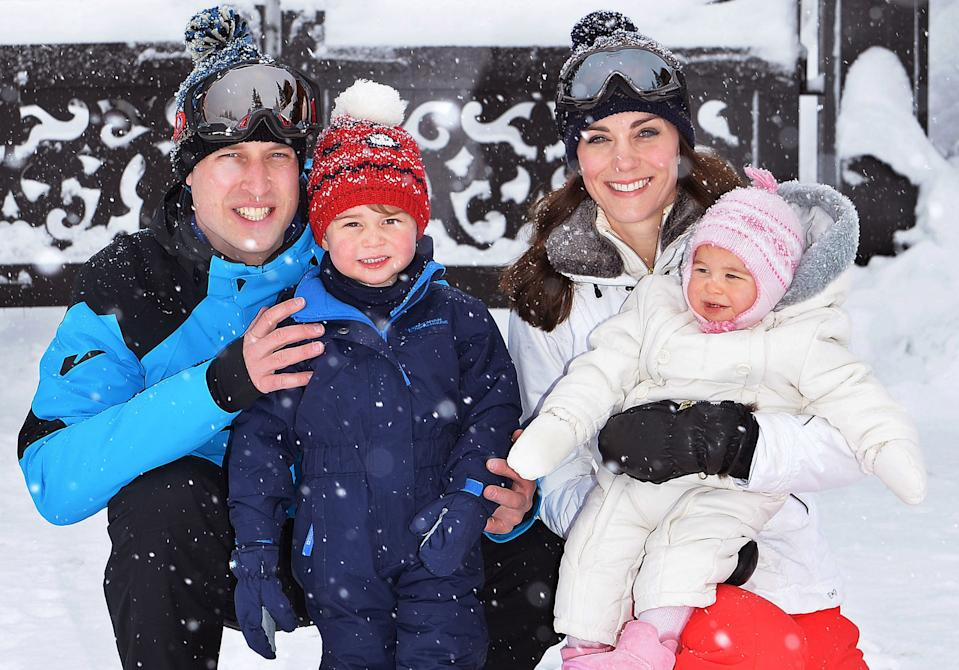 <p>He posed for cameras with his family before skiing in the French Alps in 2016. (John Stillwell - WPA Pool/Getty Images) </p>
