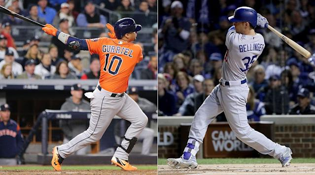 <p>By now the story is familiar: the son of former Yankees utilityman Clay Bellinger, a fourth-round 2013 draft pick, wasn't expected to make more than a late-season contribution to the Dodgers in 2017, having barely grazed Triple A by late 2016. A slew of injuries led to an April 25 call-up, around 11 weeks before his 22nd birthday, and he wound up doing nothing less than setting an NL rookie record with 39 homers, participating in the Home Run Derby and supplanting Adrian Gonzalez (who missed most of the season due to a herniated disc in his lower back) at first base. He's a lock to win NL Rookie of the Year honors.</p><p>With an uppercut swing that produced a higher fly ball rate than any Dodger besides Justin Turner, Bellinger has excellent bat speed and tremendous power, mostly to his pull side. He's a disciplined hitter who battles deep into counts, an approach that makes him vulnerable to strikeouts (his 26.6% ranked second among Dodger regulars), though his 11.1% walk rate is certainly respectable. He's plenty lethal against lefties (.271/.335/.568 with 12 homers in 173 PA), so don't expect him to be particularly targeted by situational matchups. An athleticism that would play in centerfield shows up all around his game; he's a decent baserunner who stole 10 bases in 13 attempts, and an above-average fielder at first base (+2 DRS in 93 games) who has made several outstanding plays during the postseason.</p><p>The overlooked piece in Houston's homegrown infield, Gurriel—a superstar in his native Cuba who wasn't able to leave the country until two years ago at the age of 31—is making up for lost time. After a so-so regular season, he's exploded in the playoffs, hitting .366/.409/.512 in 44 plate appearances. A free-swinger of the highest order, Gurriel walked only 22 times in 564 trips to the plate in 2017, but his contact-oriented approach and natural power have made him an invaluable part of the middle of Houston's order. Defensively, he's just about average, but the Astros will take that given his hot bat.</p><p><strong>Edge: Dodgers</strong></p>