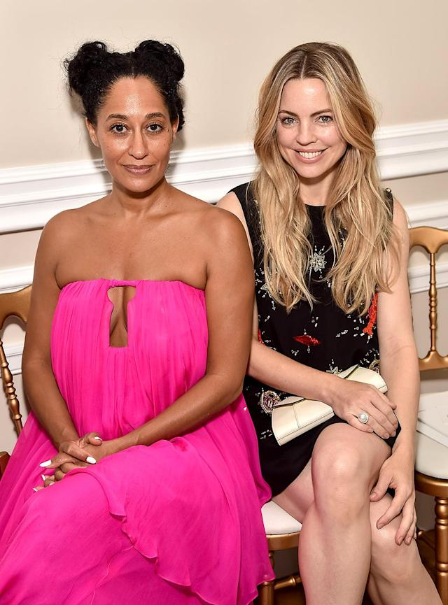 <p>Ross, wearing a flowing bright pink number, and George, in a black dress with colorful details, were part of the celeb contingent at the Schiaparelli show. (Photo: Stephane Cardinale – Corbis/Corbis via Getty Images) </p>