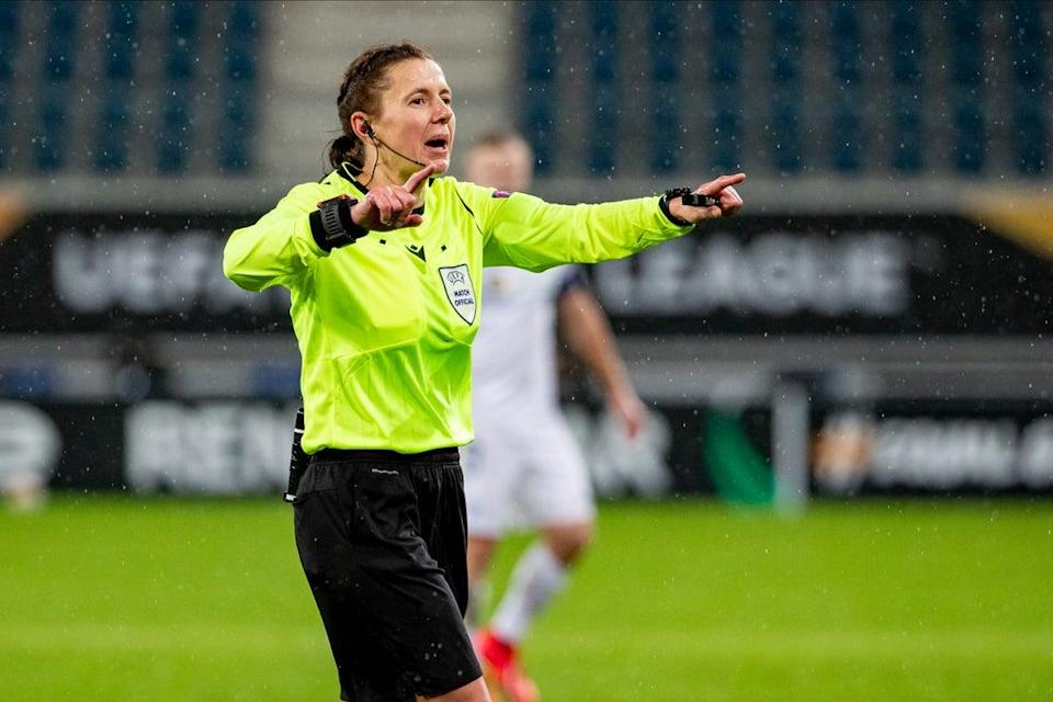 Kateryna Monzul will lead an all-female refereeing team in Andorra la Vella  (BELGA MAG/AFP via Getty Images)