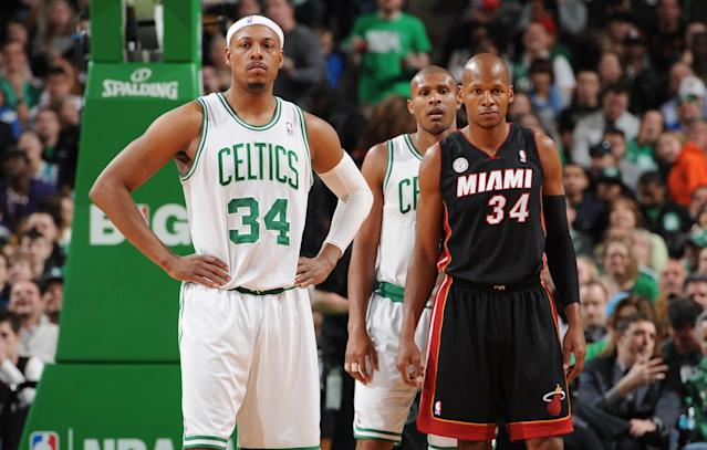 Ray Allen got the cold shoulder in his return to Boston. (Getty Images)