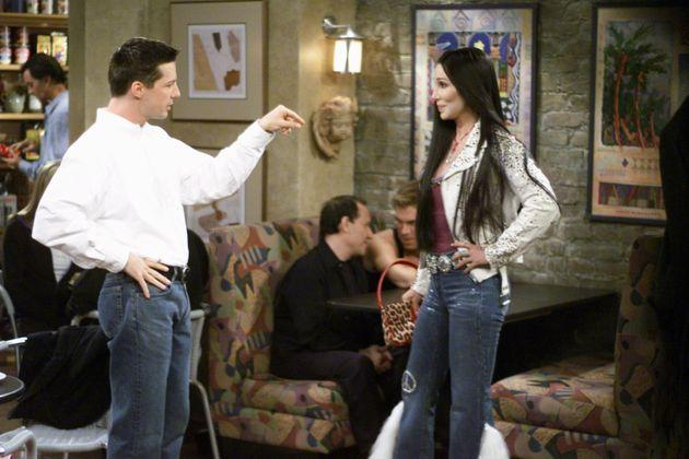 Sean Hayes acting alongside Cher (Photo: NBC via Getty Images)