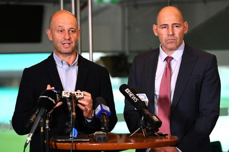Australian Cricketers' Association CEO Todd Greenberg (left) addresses media about efforts to bring Australian cricketers home from the India alongside Cricket Australia interim CEO Nick Hockley at the Sydney Cricket Ground on Wednesday