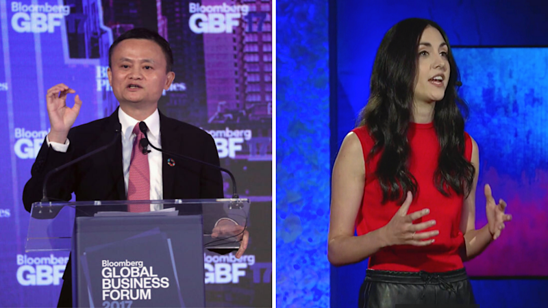 Left: Jack Ma; Right: Natalie Frotto. (Source: Getty; TED)