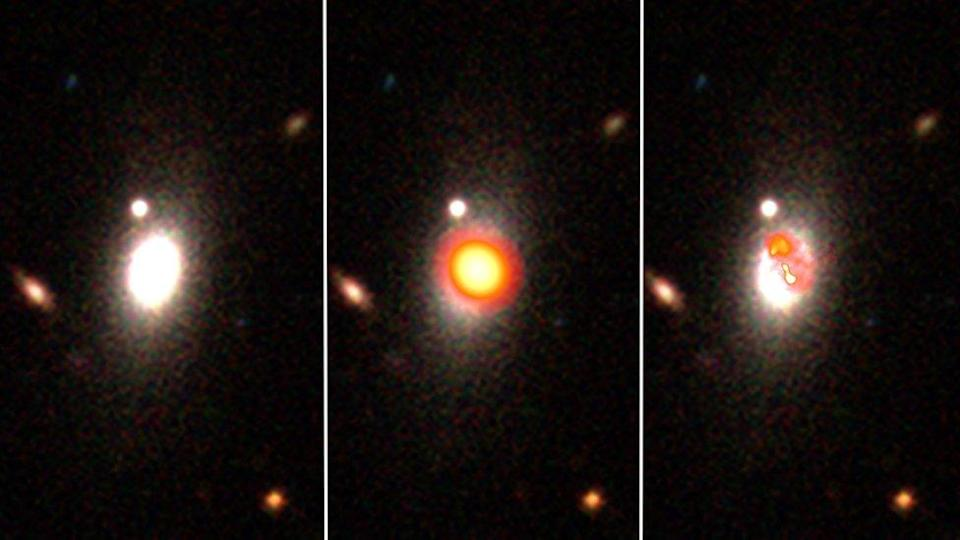 The picture on the left is of a galaxy observed in visible light. In the middle, its the same galaxy but seen in its radio frequencies and on the right is the high-definition image.