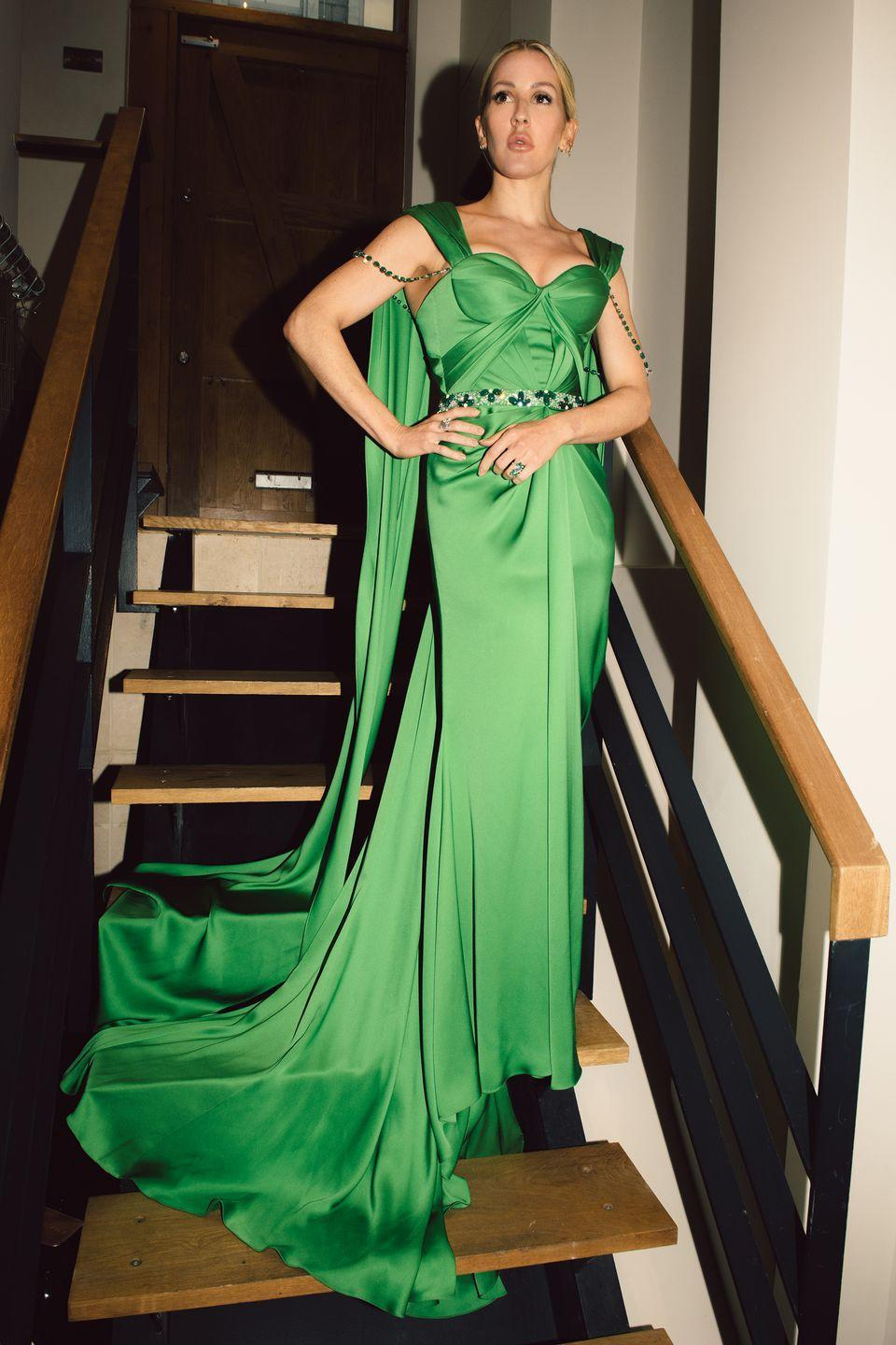 <p><strong>10 October </strong>Ellie Goulding dressed up in a green Ralph & Russo gown.<br></p>